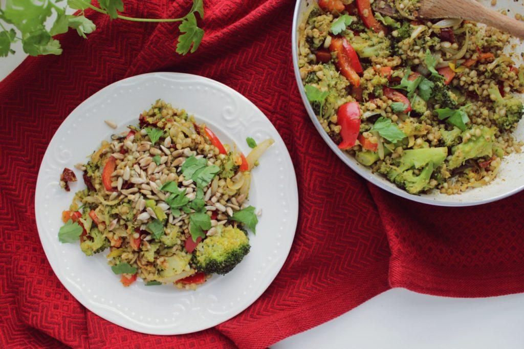 kasza z warzywami i pesto - szybki obiad zero waste
